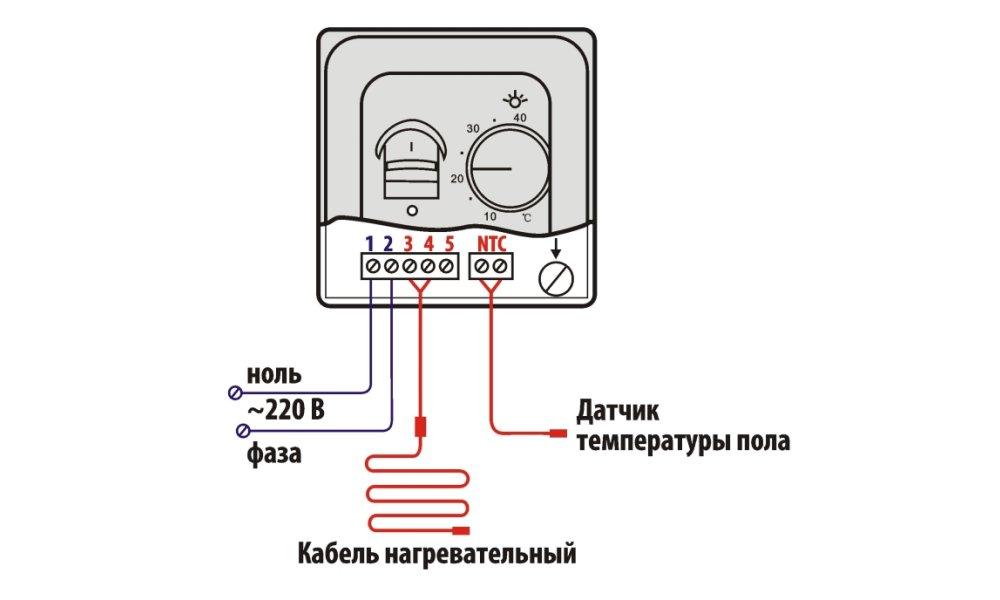 Схема подключения электрического пола к сети