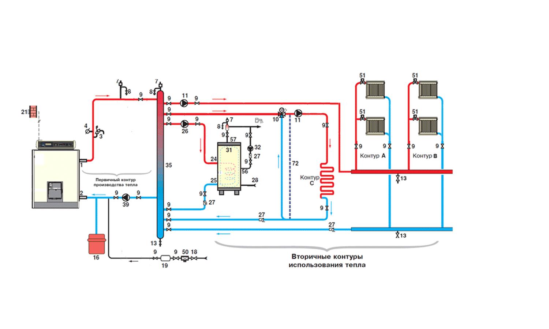 Схема подключения два контура на отопление фото7