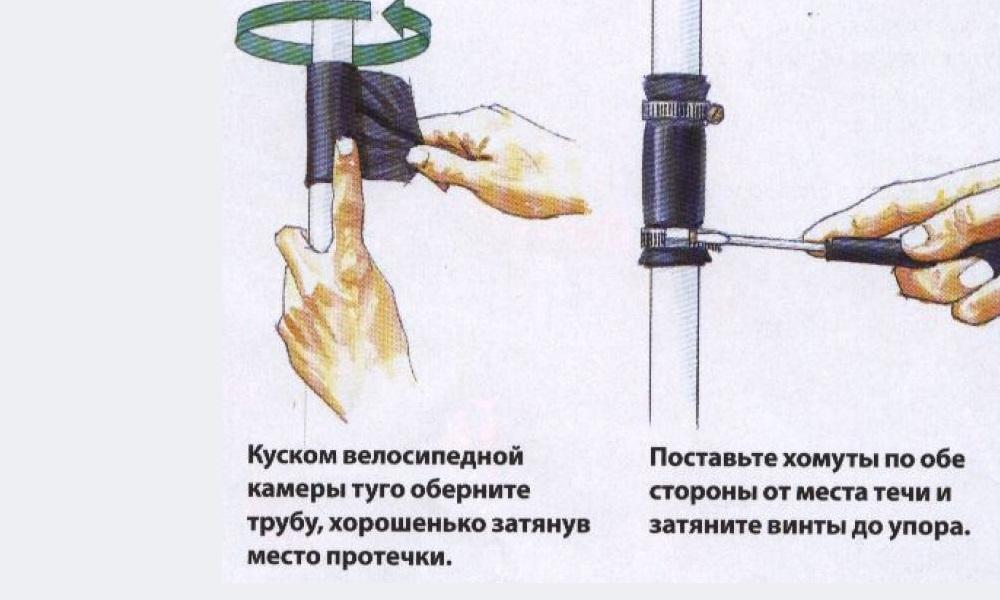 Устранение течи с помощью резиновой накладки